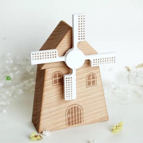 Standalone Wooden Windmill Music Box