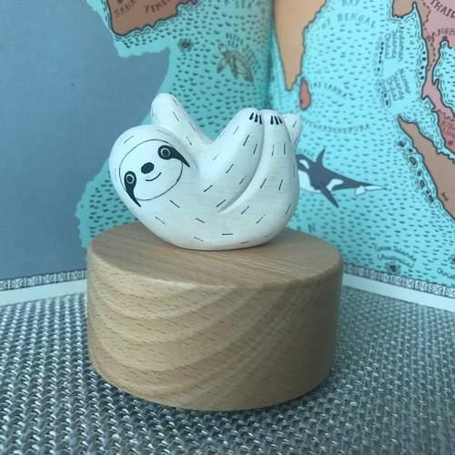 Wooden Polepole Sloth Music Box