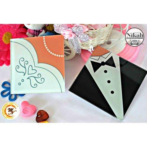 Bride & Groom Coaster Set