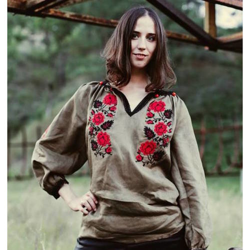 Khaki linen blouse with 3/4 sleeve and embroidered flowers - LAST PIECE