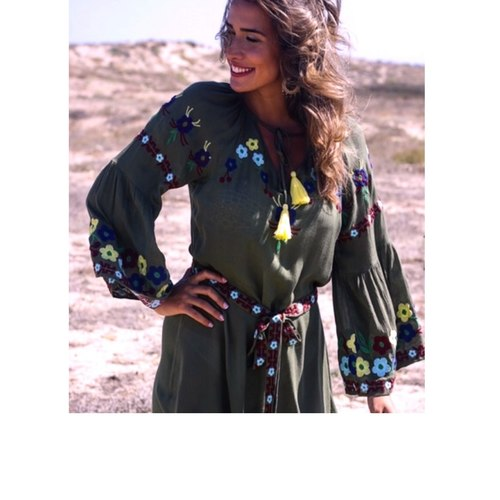 Khaki green light boho dress with floral embroidery