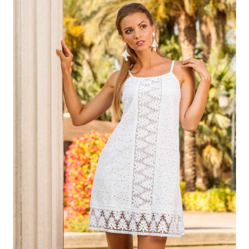 White cotton mini camisole dress with broidery anglaise