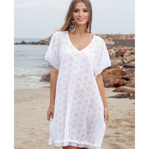 White broidery anglaise boho style poncho - FREE SIZE - New