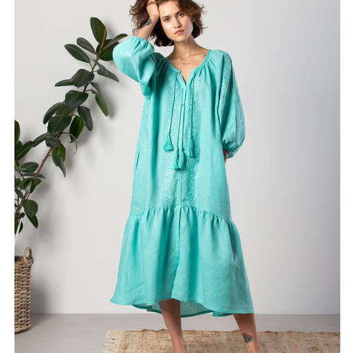 Bright and light aquamarine linen dress with floral embroidery and tassels