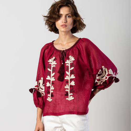 Embroidered burgundy linen blouse with floral embroidery