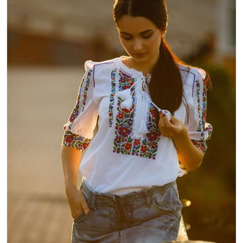 Very light blouse with highest grade swiss marquisette and intricate embroidery