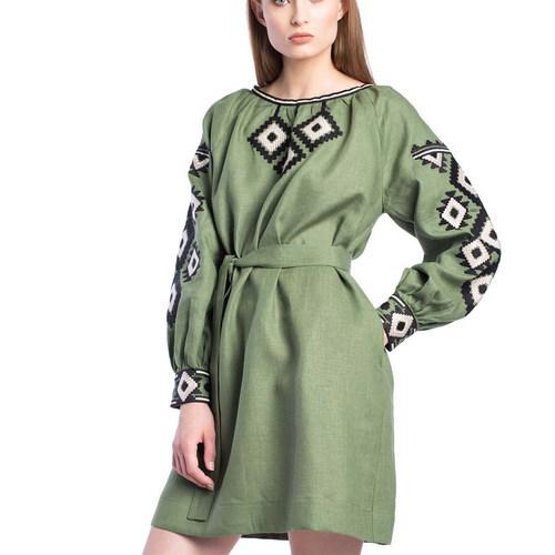 Green linen midi dress MD6New