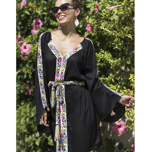 Black cotton mini dress boho style with embroidered inserts
