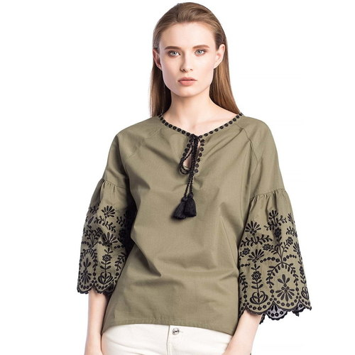 Batiste blouse khaki with embroidery SOFT Olive