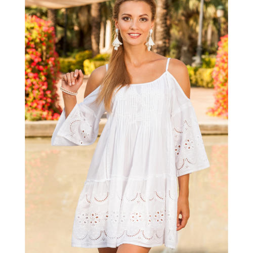 Light cotton summer dress with broidery anglaise