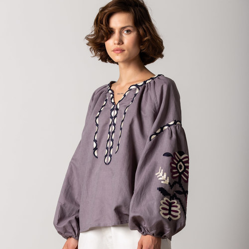 """Ashy purple light linen shirt with floral embroidery """"Butterfly"""""""