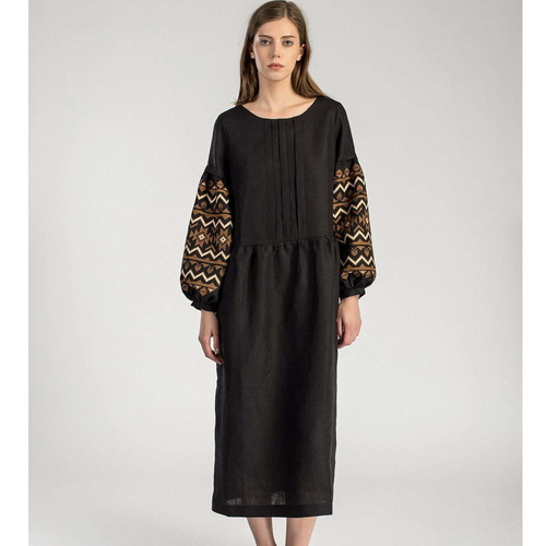Long linen dress with lush embroidered sleeves - Last Piece size L