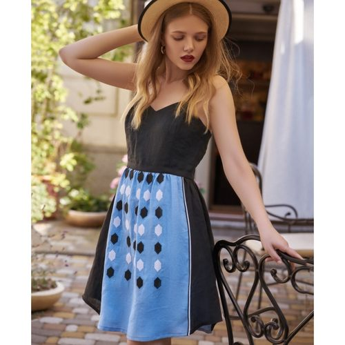 Light summer blue and black  linen dress with geometric embroidery.