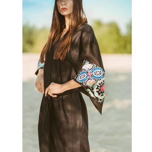 Black linen kimono with bold embroidery - Last Piece