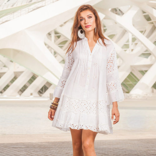 White cotton tunic with broidery anglaise