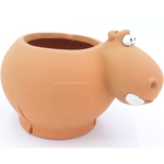 Terracotta clay pot - Hippo