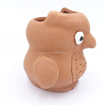 Terracotta clay pot - Owl