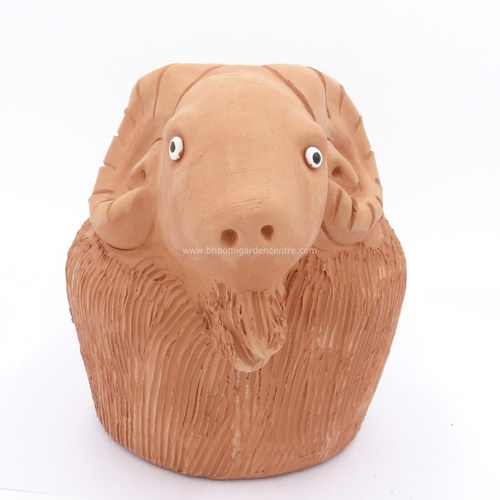Terracotta clay pot - Goat