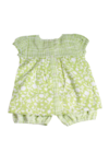 Ethnic Print Baby Top Green + Bloomers