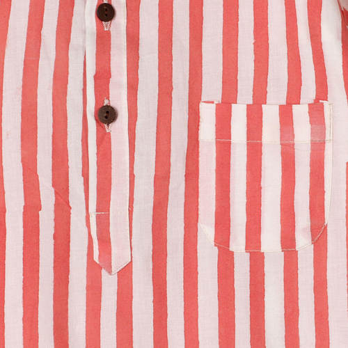 Striped Yogi Kurta Shirt Pink