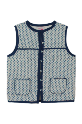 Block Buti Print Jacket Blue Sleeveless