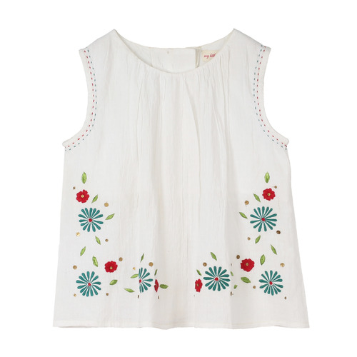 Girls Embroidered Teal Top