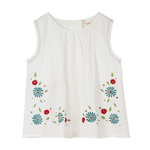 Girl's Embroidered Teal Top