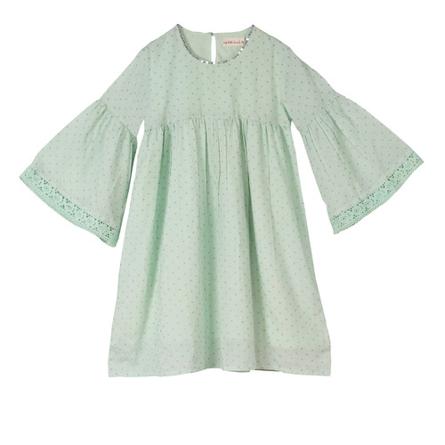 Rihanna Dot Girls Dress Aqua