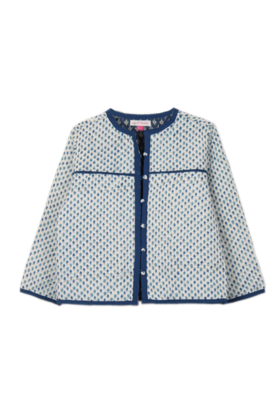 Block Buti Print Quilted Jacket Blue