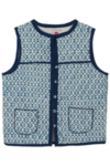 Sleeveless Block Print Jacket Blue