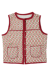 Block Printed Sleeveless jacket Rust