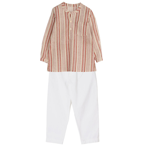 Striped kurta PJ set Rust