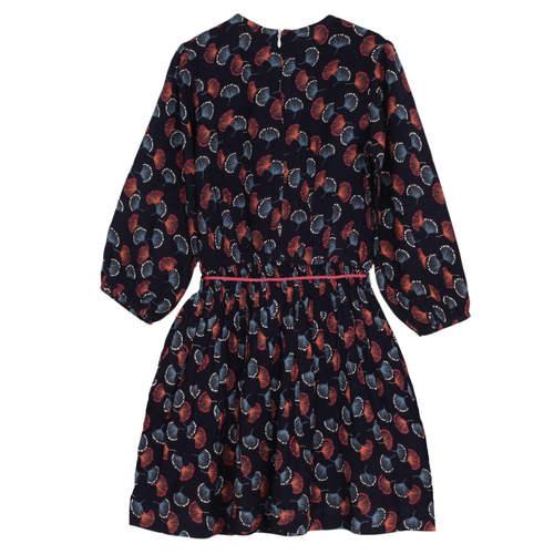 Argyle Girl's Navy Dress Feather print