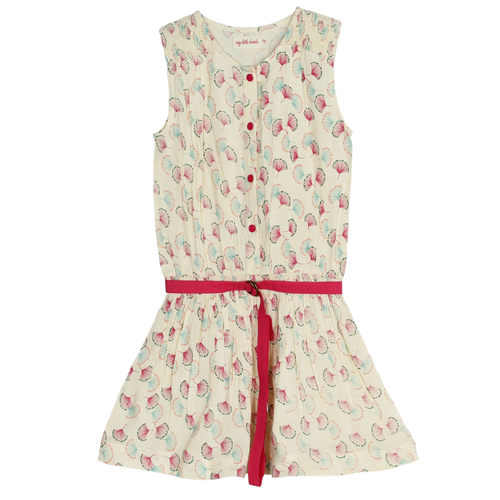 Nammy Girl's Dress Beige Feather Print