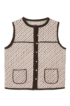 Block Buti Print Jacket Brown Sleeveless