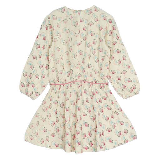 Argyle Girl's Dress Beige Feather Print