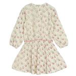 Argyle Girls Dress Beige Feather Print