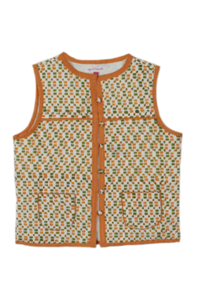 Square print sleeveless jacket Ochre