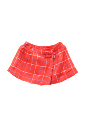 Printed Check Wrap Skirt