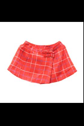 Printed Check Wrap Skirt