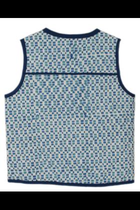 Sleeveless Block Print Jacket Blue