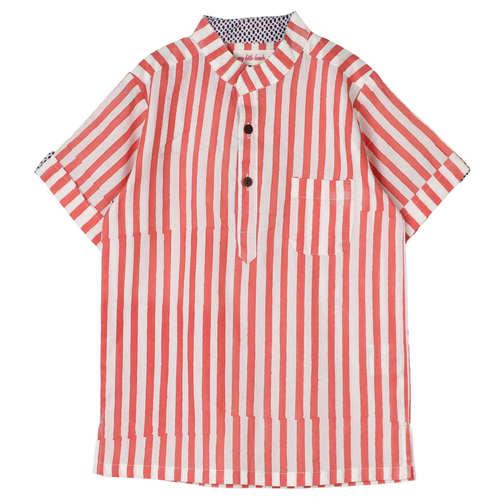 Striped Yogi Kurta Shirt Pink
