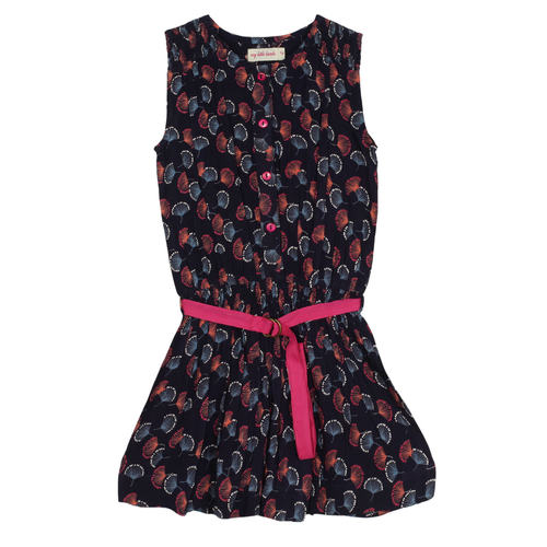 Nammy Girls Dress Navy Feather print