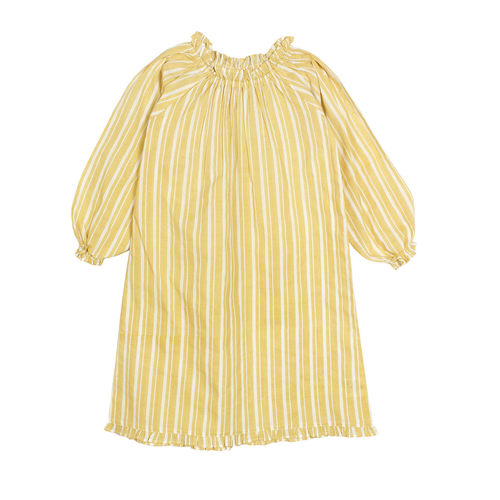 French yellow full sleeve night dress