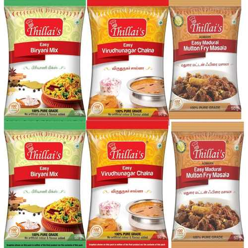 Thillai's Meat Masala combo 300g( Easy biryani masala , Easy virudhunagar chalna mix , Easy madurai mutton fry masala)Easy 3 steps