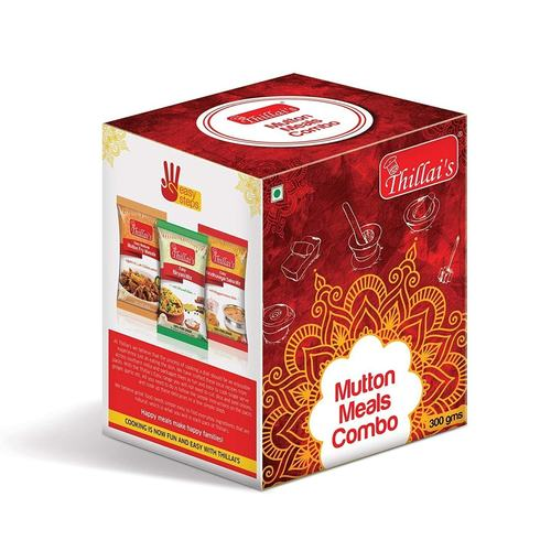 Thillais Meat Masala Combo-Easy Biryani Mix,Easy Virudhunagar Salna mix,Easy Madurai Mutton Fry Masala-Pack of 6Each pack of 2