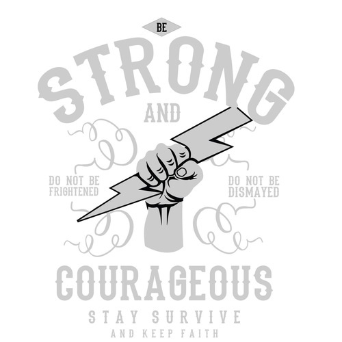 Strong & Courageous Black Half Sleeve T-Shirt