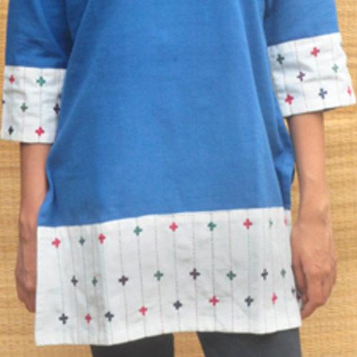 High neck collared indigo Short kurta