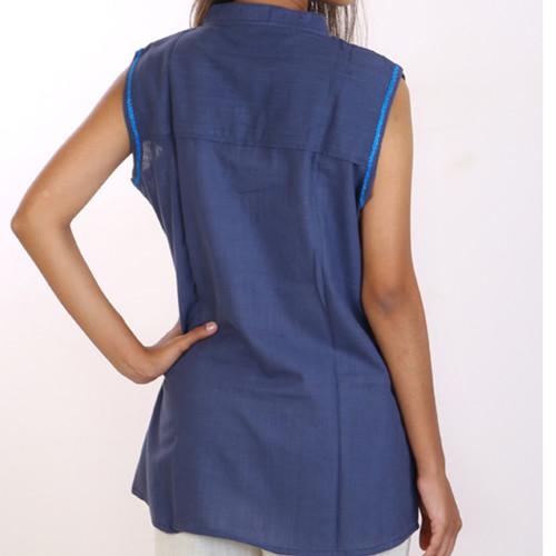 Sleeveless Indigo - organic cotton top