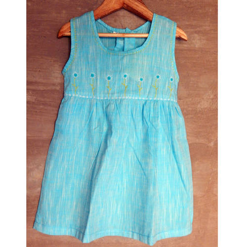 Kids cotton frock - Age 6 (Sky Blue)